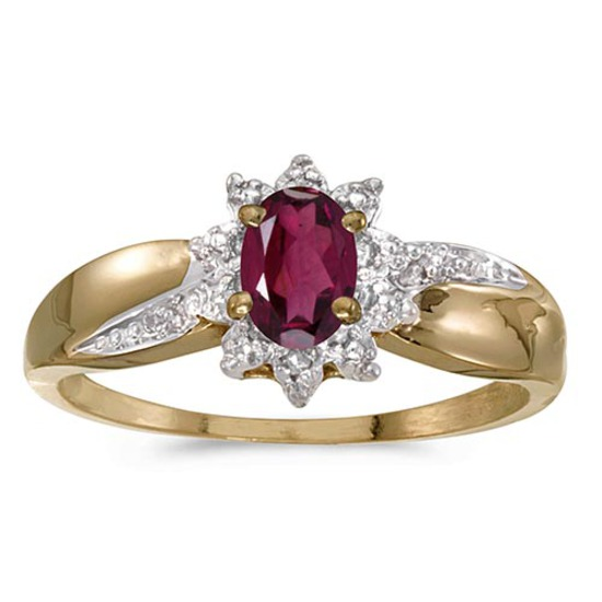 Certified 10k Yellow Gold Oval Rhodolite Garnet And Diamond Ring