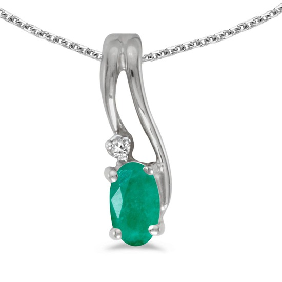 Certified 10k White Gold Oval Emerald And Diamond Wave Pendant 0.17 CTW