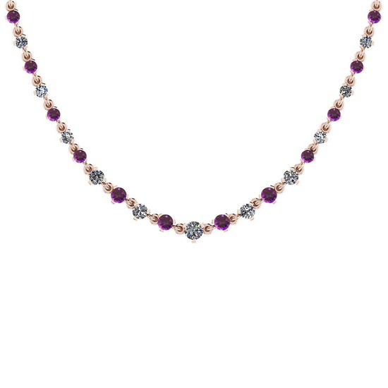 3.04 Ctw I1/I2 Amethyst And Diamond 10K Rose Gold Necklace
