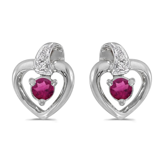 Certified 14k White Gold Round Rhodolite Garnet And Diamond Heart Earrings 0.25 CTW