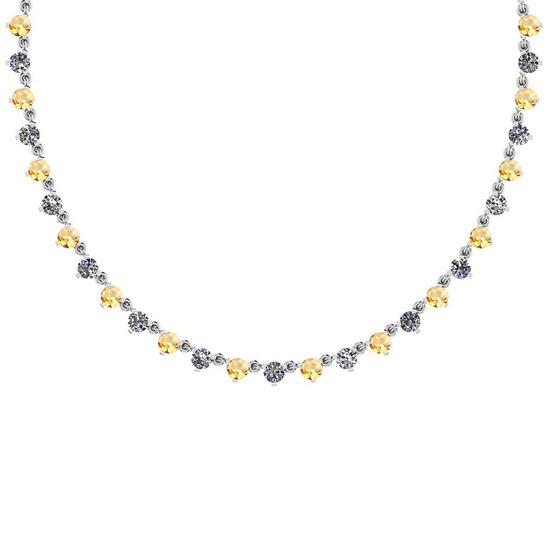4.11 Ctw I1/I2 Citrine And Diamond 10K White Gold Necklace
