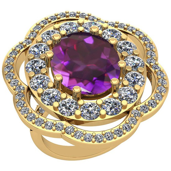 10.06 Ctw Amethyst And Diamond SI2/I1 14k Yellow Gold Victorian Style Ring