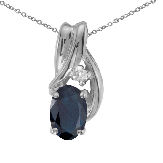 Certified 14k White Gold Oval Sapphire And Diamond Pendant