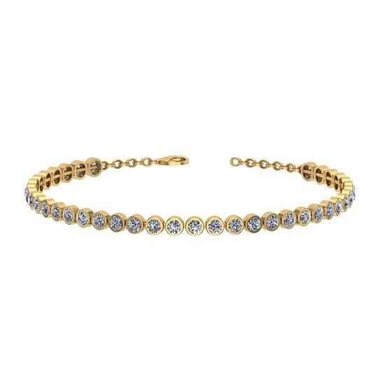1.09 Ctw I2/I3 Diamond Bezel Set 10k Yellow Gold Bracelet