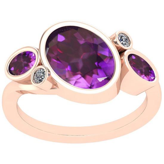 3.07 Ctw Amethyst And Diamond I2/I3 10K Rose Gold Vintage Style Ring