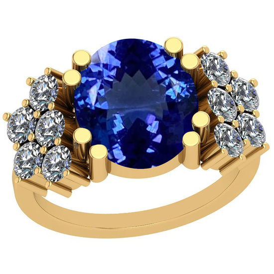 5.10 Ctw VS/SI1 Tanzanite And Diamond 14K Yellow Gold Victorian Style Ring