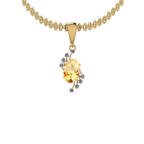 Certified 4.73 Ctw I2/I3 Citrine And Diamond 14K Yellow Gold Pendant