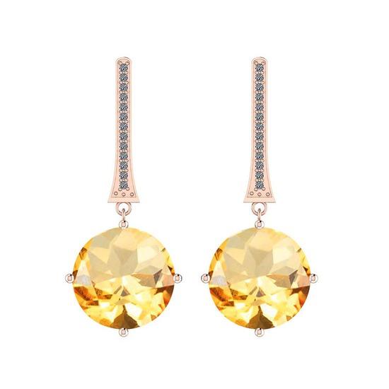 Certified 3.72 Ctw I2/I3 Citrine And Diamond 14K Rose Gold Earrings
