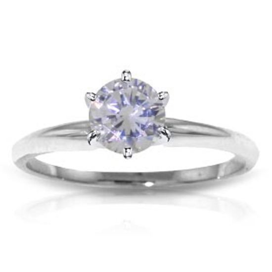 0.75 CTW 14K Solid White Gold Solitaire Ring 0.75 Carat Natural Diamond
