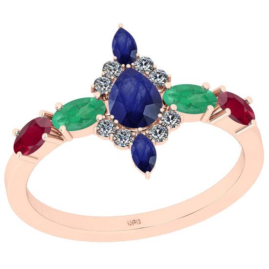 1.56 Ctw I2/I3 Multi Stone And Diamond 14K Rose Gold Engagement Ring