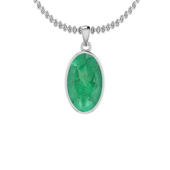 2.50 Ctw Emerald Style Bezel Set 14K White Gold Victorian Pendant