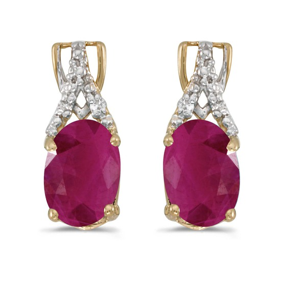 Certified 14k Yellow Gold Oval Ruby And Diamond Earrings