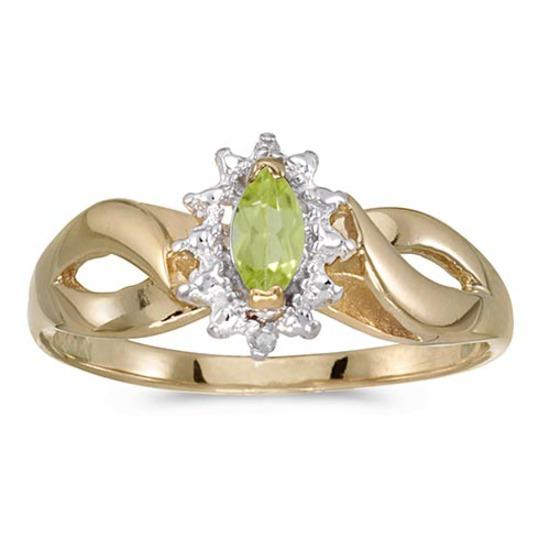 Certified 10k Yellow Gold Marquise Peridot And Diamond Ring
