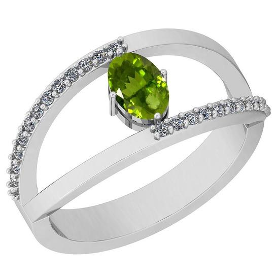 0.64 Ctw Peridot And Diamond I2/I3 10K White Gold Vintage Style Ring