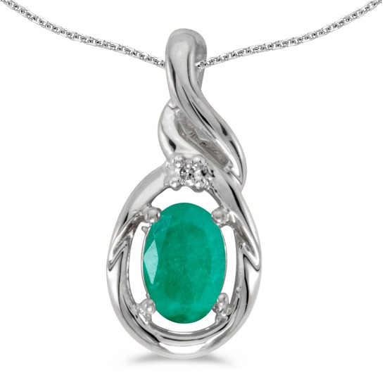 Certified 14k White Gold Oval Emerald And Diamond Pendant