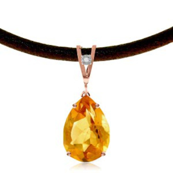 14K Solid Rose Gold & Leather Necklace withDiamond & Citrine