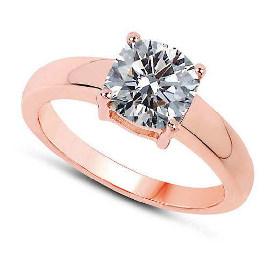 CERTIFIED 0.9 CTW F/SI2 ROUND DIAMOND SOLITAIRE RING IN 14K ROSE GOLD
