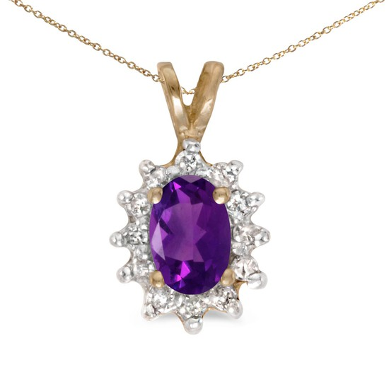 Certified 10k Yellow Gold Oval Amethyst And Diamond Pendant 0.46 CTW