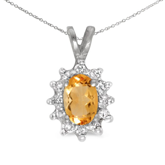 Certified 10k White Gold Oval Citrine And Diamond Pendant
