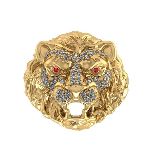 0.51 Ctw VS/SI1 Ruby And Diamond 14K Yellow Gold Lion King Ring