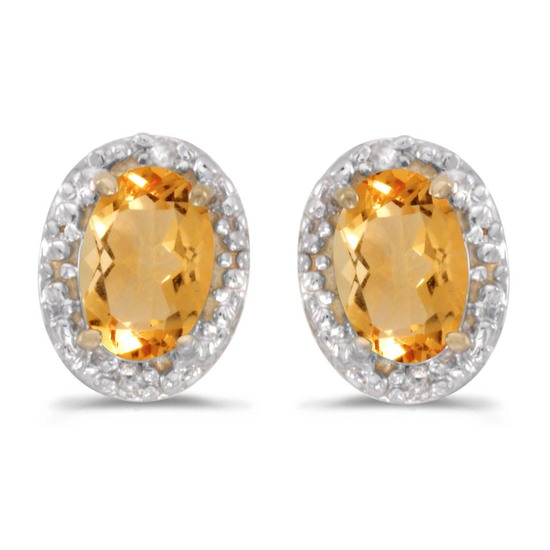 Certified 14k Yellow Gold Oval Citrine And Diamond Earrings