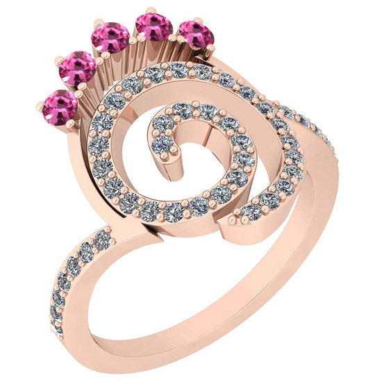 0.96 Ctw VS/SI1 Pink Sapphire And Diamond 14K Rose Gold Ring