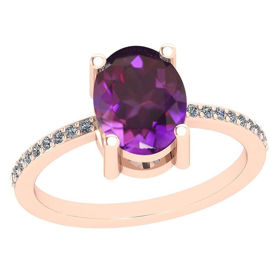2.10 Ctw Amethyst And Diamond I2/I3 10K Rose Gold Vintage Style Ring