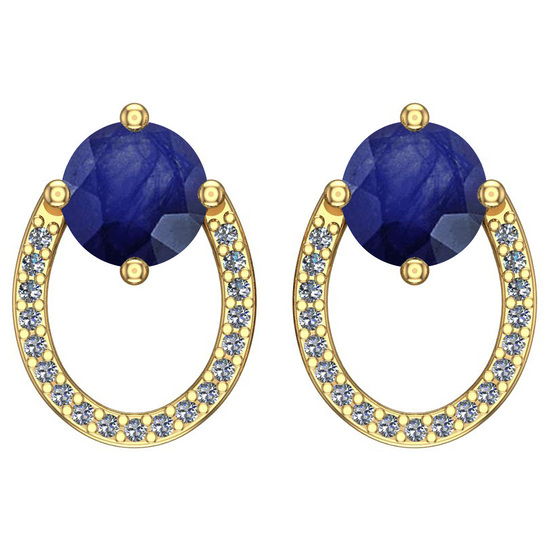 1.19 Ctw I2/I3 Blue Sapphire And Diamond 14K Yellow Gold Stud Earrings