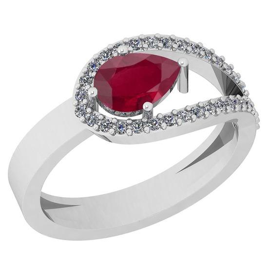 0.91 Ctw Ruby And Diamond I2/I3 14K White Gold Vintage Style Ring