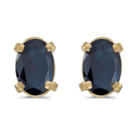Certified 14k Yellow Gold Oval Sapphire Earrings