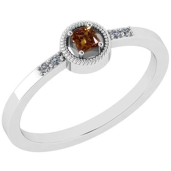 0.14 Ct Natural Yellow Diamond I2/I3And White Diamond I2/I3 18k White Gold Vintage Style Ring