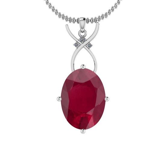 4.06 Ctw Ruby And Diamond SI2/I1 14K White Gold Pendant