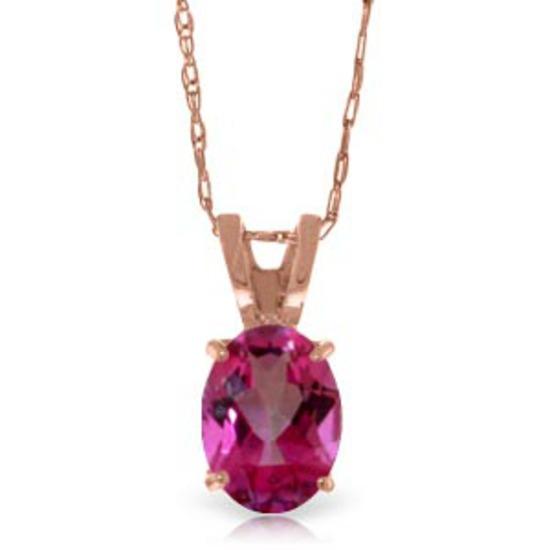 0.85 Carat 14K Solid Rose Gold Solitaire Pink Topaz Necklace