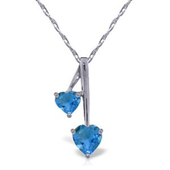 1.4 CTW 14K Solid White Gold Hearts Necklace Natural Blue Topaz