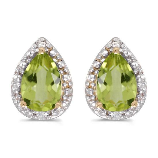 Certified 14k Yellow Gold Pear Peridot And Diamond Earrings