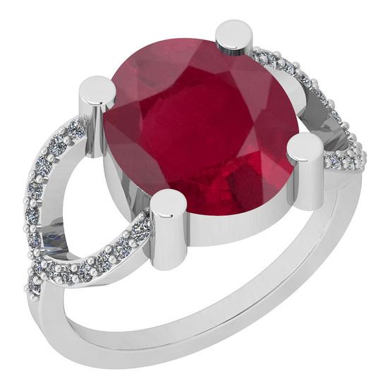 2.77 Ctw I2/I3 Ruby And Diamond 14K White Gold Ring