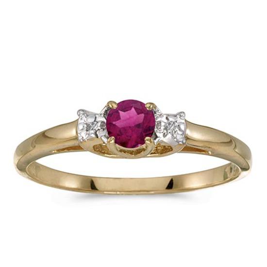 Certified 14k Yellow Gold Round Rhodolite Garnet And Diamond Ring