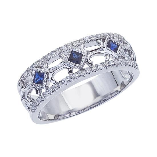 Certified 14k White Gold Sapphire Diamond Open Band 0.25 CTW