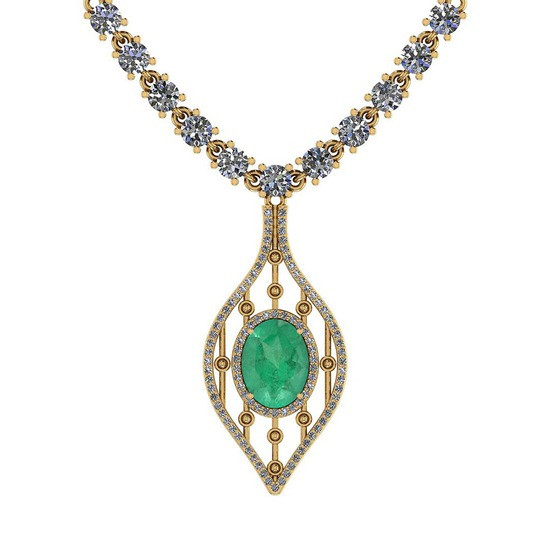 9.00 Ctw SI2/I1 Emerald And Diamond 14K Yellow Gold Necklace