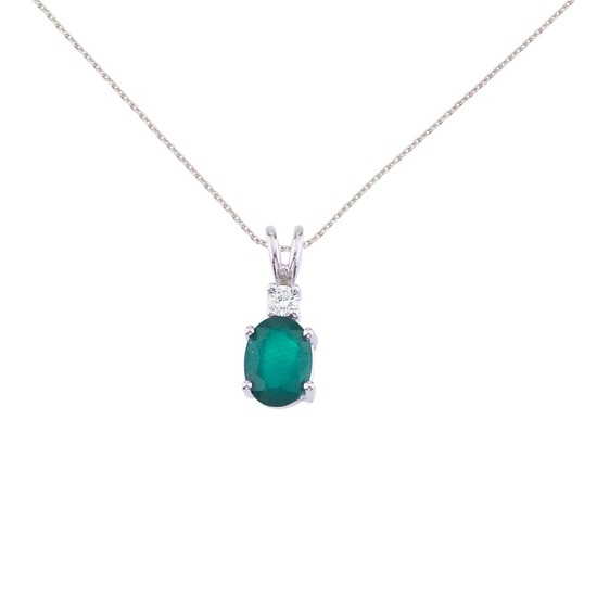 Certified 14K White Gold Oval Emerald & Diamond Pendant