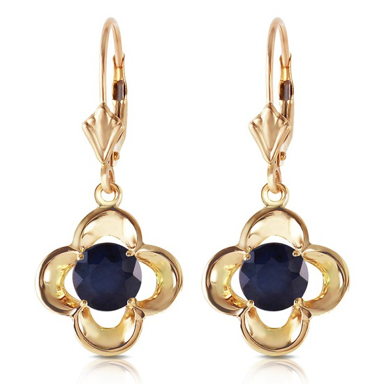 1.1 Carat 14K Solid Gold Leverback Earrings Natural Sapphire