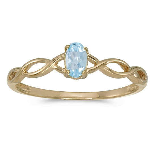 Certified 10k Yellow Gold Oval Aquamarine Ring 0.14 CTW