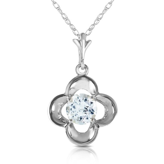 0.55 CTW 14K Solid White Gold It Ain't Over Aquamarine Necklace