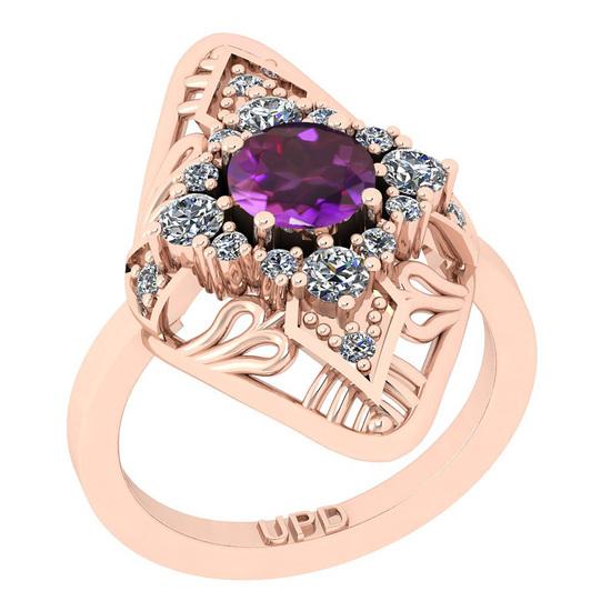 0.82 Ctw I2/I3 Amethyst And Diamond 10K Rose Gold Filigree Anniversary Ring