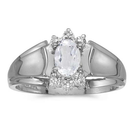 Certified 10k White Gold Oval White Topaz And Diamond Ring
