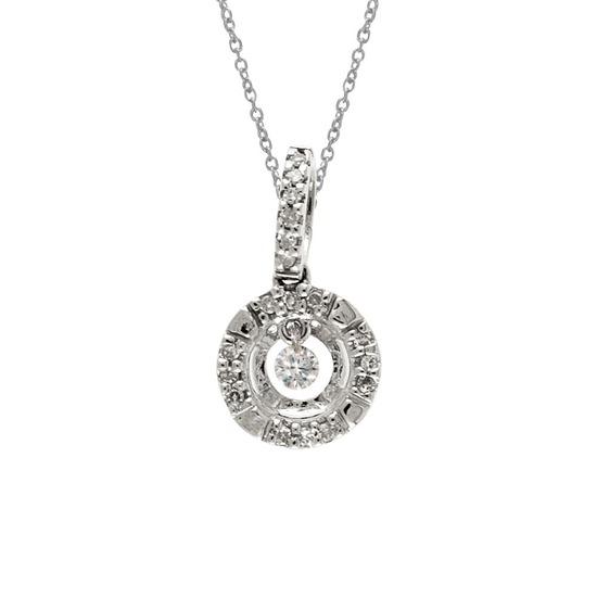 Certified 14K White Gold Dashing Diamonds Pendant