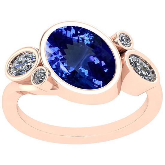 3.79 Ctw VS/SI1 Tanzanite And Diamond Platinum 14K Rose Gold Plated Ring