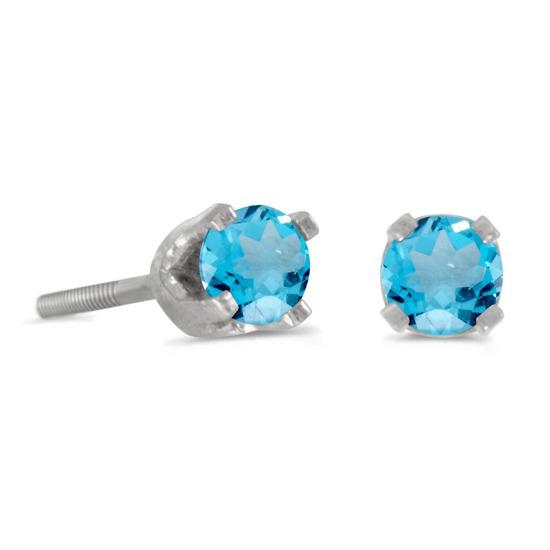 Certified 3 mm Petite Round Blue Topaz Stud Earrings in 14k White Gold 0.22 CTW