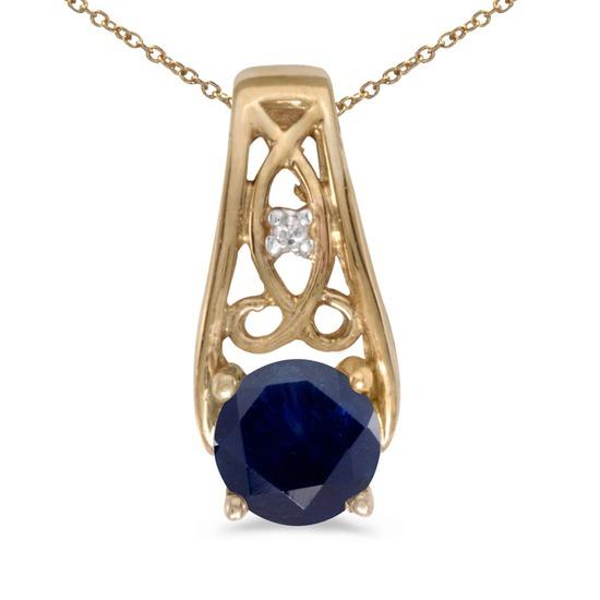 Certified 14k Yellow Gold Round Sapphire And Diamond Pendant