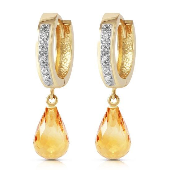 4.54 Carat 14K Solid Gold Tres Chic Blue Citrine Diamond Earrings